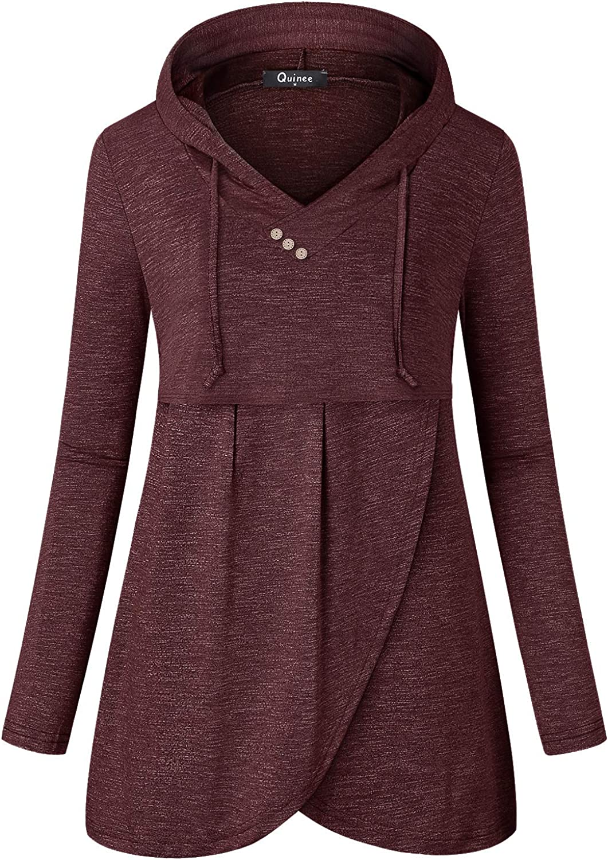 Quinee Women Long Sleeve V Neck Hooded Asymmetric Hem Casual Nursing Sweatshirt