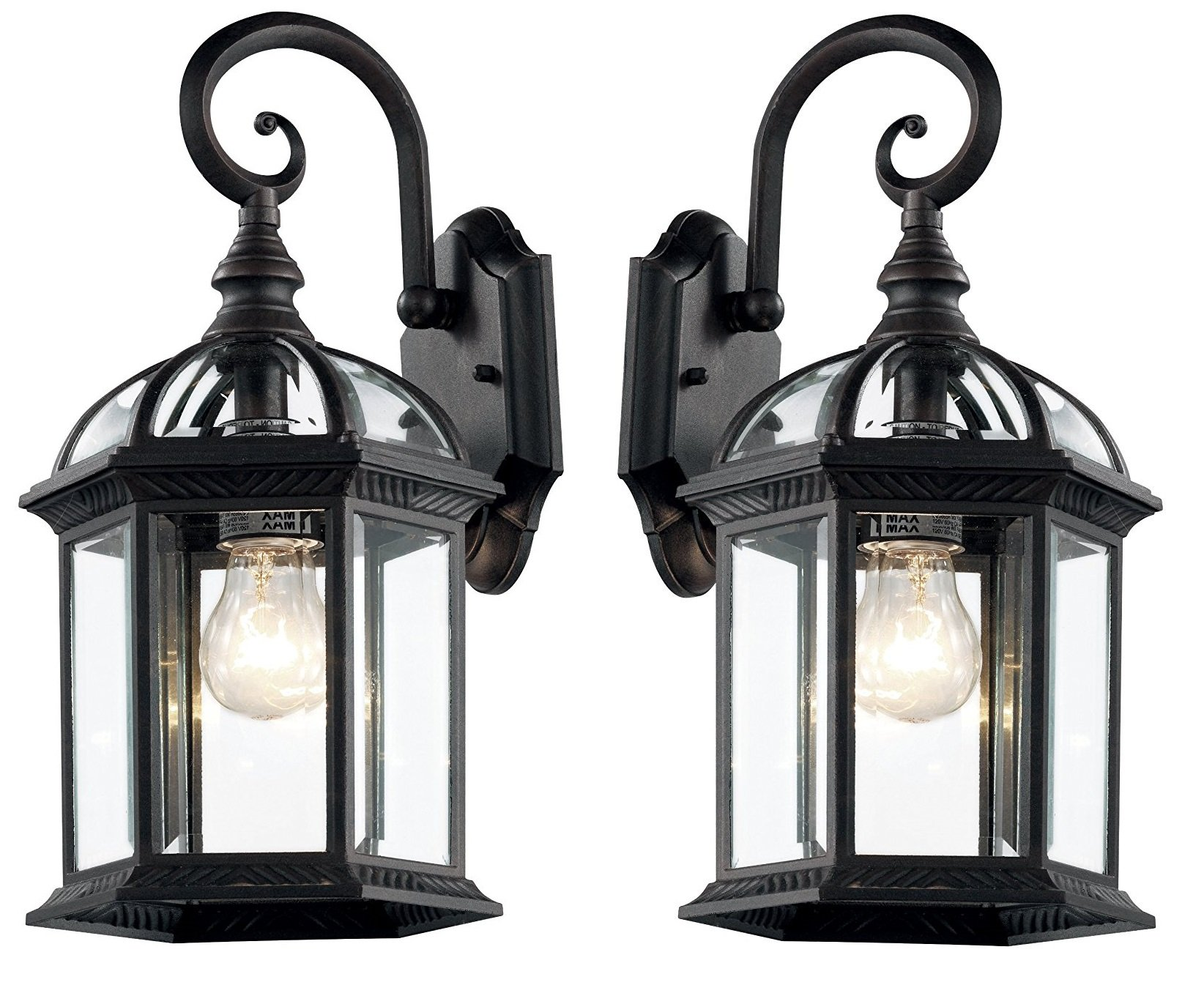 Trans Globe Lighting black-2pack 4181 BK Outdoor Wentworth 15.75'' Wall Lantern (Black-2 Pack) by Trans Globe Lighting