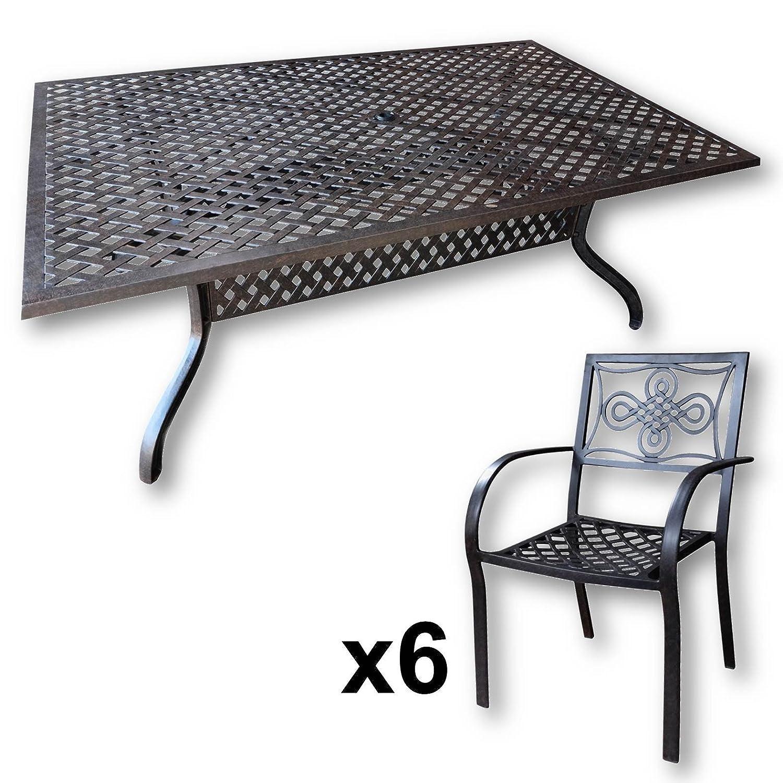 Lazy Susan Sophia 200 X 120 Cm Rechteckiger Gartentisch Mit 6