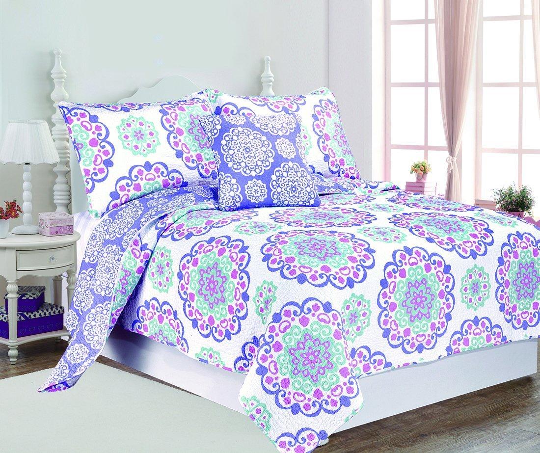 4 Piece Girls Medallion Quilt Full Queen Set, Cute All Over Flowers Mandala Motif Bedding, Multi Floral Heart Swirl Pattern, Bohemian Boho Chic Flower Themed, White Teal Blue Lavender Plum Violet Pink