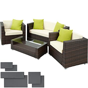 Terrific Tectake Luxury Rattan Aluminium Garden Furniture Sofa Set Outdoor Wicker With Glass Table Including Upholstery 4 Extra Pillows Stainless Steel Theyellowbook Wood Chair Design Ideas Theyellowbookinfo