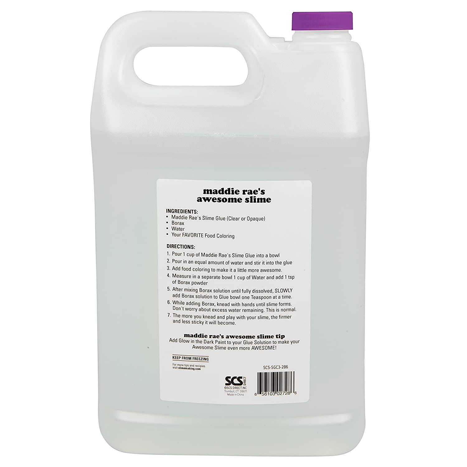Maddie Rae's Clear Slime Glue - 1 Gallon - Non Toxic - The Clearest Slime  Formula of Any Glue Brand - Perfect Slime Making Crafts (Clear Gallon)