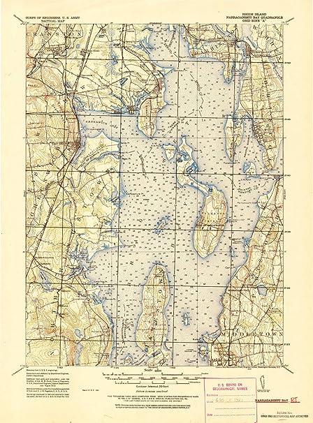 Topographic Map Rhode Island.Amazon Com Yellowmaps Narragansett Bay Ri Topo Map 1 62500 Scale