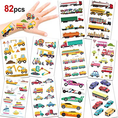 Konsait 82PCS Vehicles Temporary Tattoos Car Fake Tattoo Stickers for Kids Children Girls Boys Party Favors Supplies Kids Birthday Party Bag Filler: Beauty