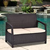 TANGKULA Patio Bench Outdoor Garden Poolside Lawn Porch All Weather Rattan Wicker Love Seat Bench Couch Chair Patio Furniture, with Cushions