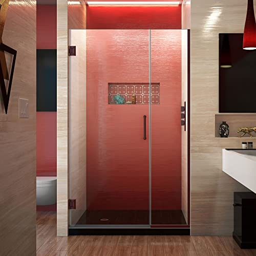 DreamLine Unidoor Plus 40 1 2 – 41 in. W x 72 in. H Frameless Hinged Shower Door in Oil Rubbed Bronze, SHDR-244057210-06