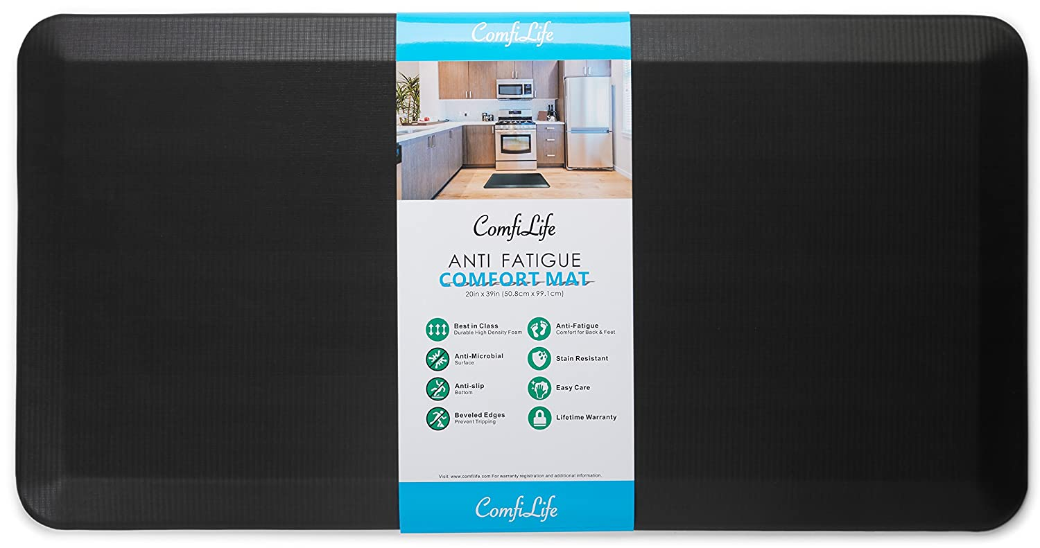 "ComfiLife Anti Fatigue Floor Mat - Perfect Kitchen Mat, Standing Desk Mat - Comfort at Home, Office, Garage - Durable - Stain Resistant - Non-Slip Bottom - Black, 20""x39"""