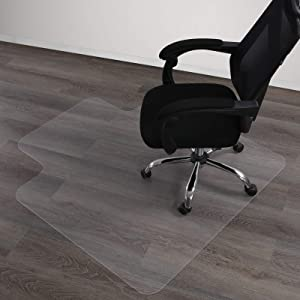 Large Office Chair Mat for Hardwood Floor, HOMBYS Heavy Duty (45x53 inch) Plastic Floor Protector, (3.8x4.5 ft) Floor Mat for Rolling Chair, with Lip, Easy Glide, for Home and Office, Clear, 1-Pack