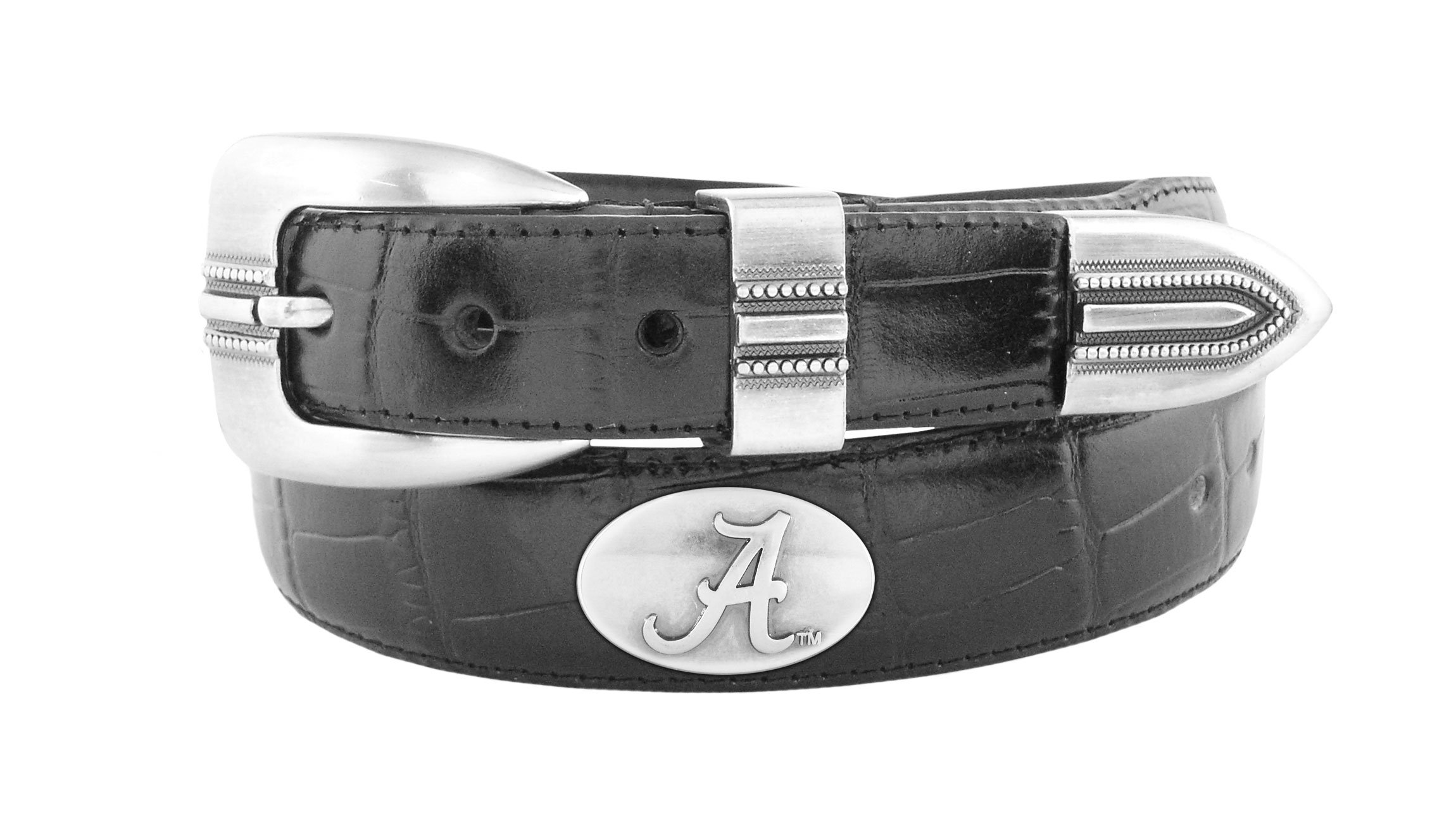 NCAA Alabama Crimson Tide Black Crocodile Tip Leather Concho Belt, 34