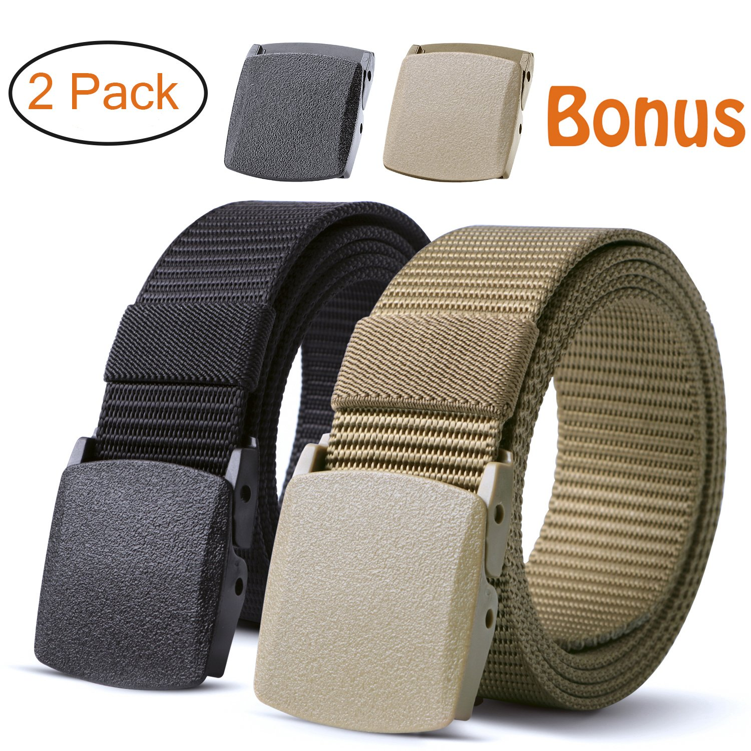 Nylon Military Tactical Belt 2 Pack Webbing Canvas Outdoor Web Belt With Plastic Buckle JASGOOD JA015-2pack