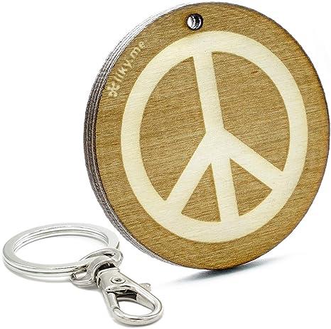 LIKY® Paz símbolo llavero original de madera grabado regalo para mujer hombre cumpleaños pasapiempo colgante bolso mochila