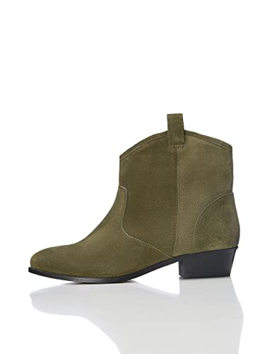 ae15c7ae4102c find. Women's Ankle Boots in Suede Cowboy Style, Green (Khaki), ...