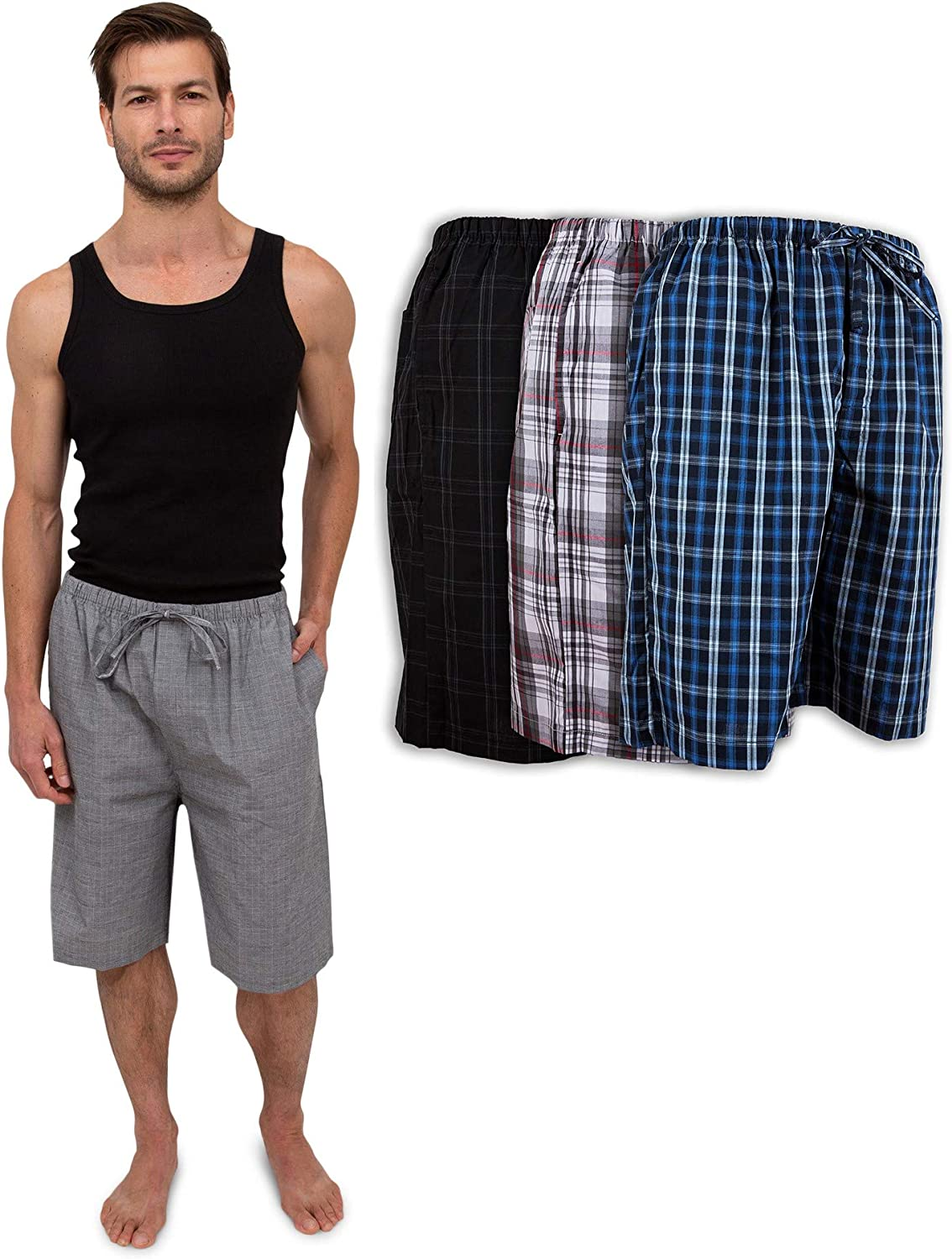 Mens 3 Pack Soft Poplin Woven Pajama /& Sleep Jam Cargo Short Lounge Pants
