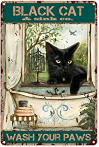 Funny Bathroom Quote Metal Tin Sign Wall Decor - Vintage Black Cat Wash Your Paws Tin Sign for Office/Home/Classroom Bathroom Decor Gifts - Best Farmhouse Decor Gift for Women Men Friends - 8x12 Inch