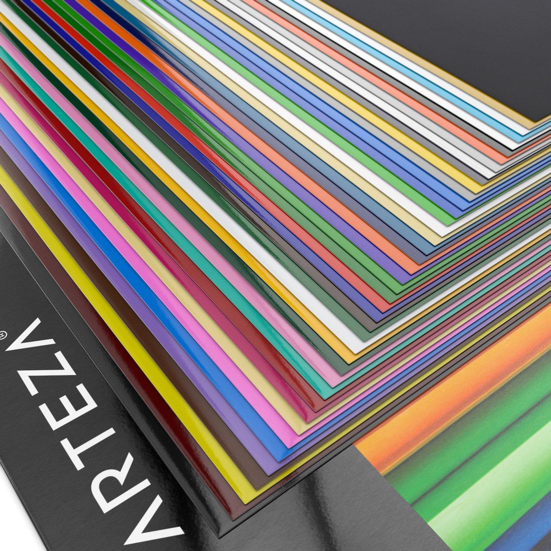 "Arteza 12x12"" Glossy Black Self Adhesive Vinyl Crafts 50 Sheets"