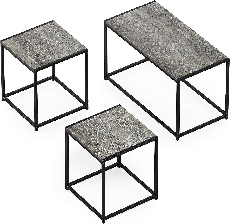 FURINNO Camus Modern Living Room Table Set, French Oak Grey