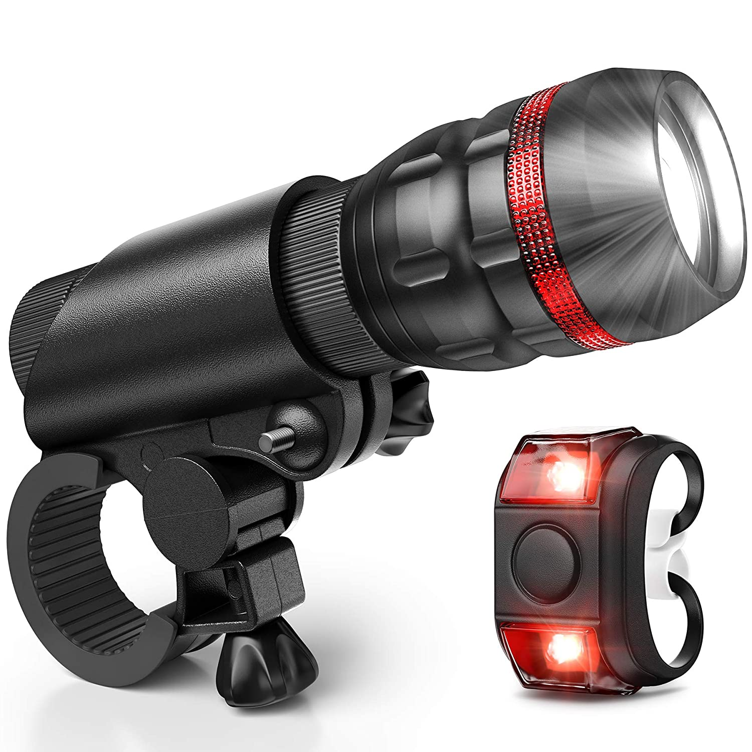 Vont Bike Light, Comes with Free Tail Light, Bicycle Light Installs in Seconds Without Tools, Powerful Bike Headlight Compatible with Mountain, Kids, Street, Bikes, Front and Back Illumination