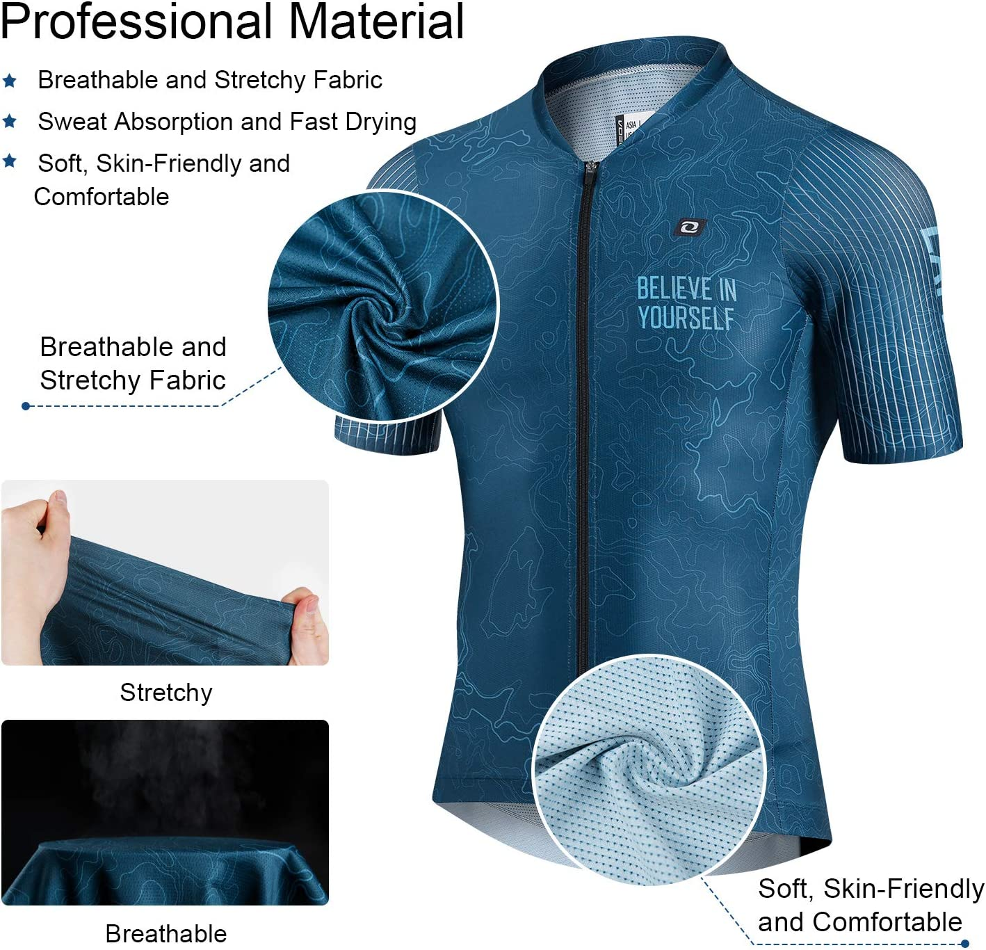 LAMEDA Summer Breathable Cycling Jersey Short Sleeve Lightweight Elastic Bike Shirt for Road Bike MTB
