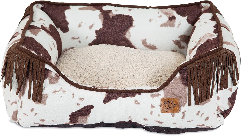 MuttNation Fueled by Miranda Lambert Lambswool Corner Fringe Printed Lounger Dog Bed