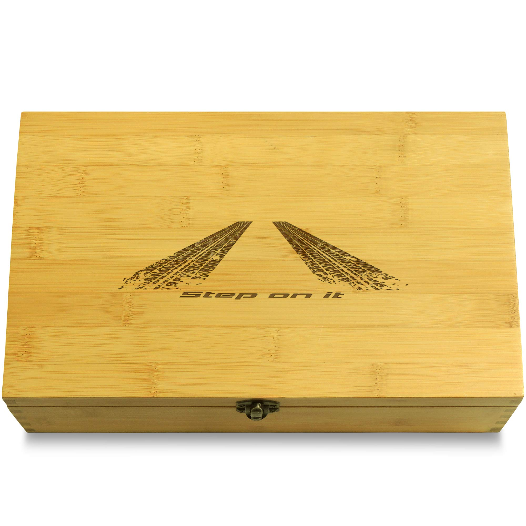 Cookbook People Step On It Peel Out Car Multikeep Box - Memento Bamboo Wood Adjustable Organizer