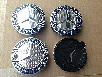 8751758bdc1 Amazon.com  MERCEDES SET OF 4 Dark BLUE CENTER WHEEL HUB CAPS 75 MM COVER  CHROME EMBLEM  Automotive