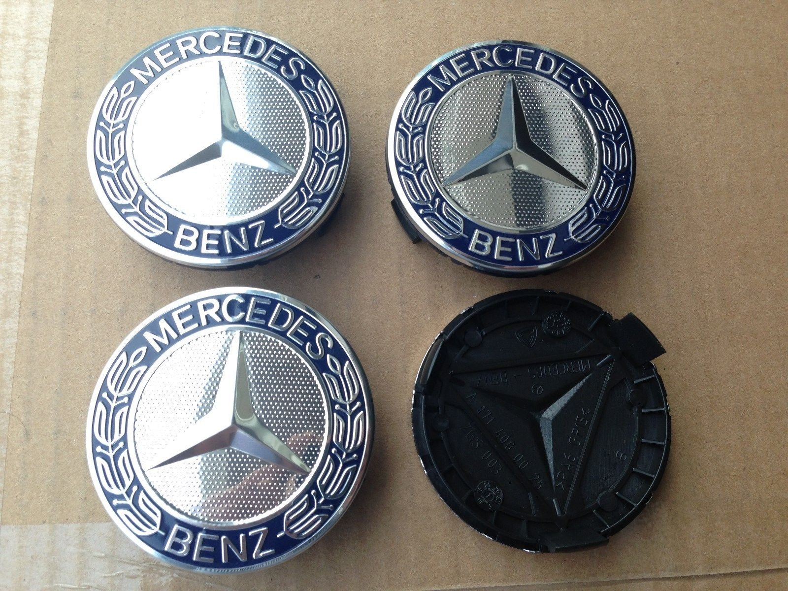 MERCEDES SET OF 4 Dark BLUE CENTER WHEEL HUB CAPS 75 MM COVER CHROME EMBLEM