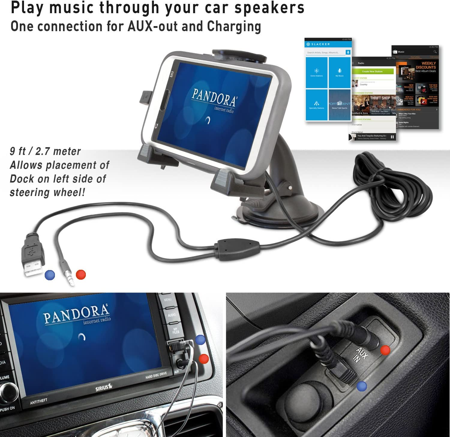 Note 2 /& Note 3 with aux-Out to car-Speakers Works with All Cases and Extended Batteries. S4 iBOLT xProDock Active Car Dock//Holder//Mount for Samsung Galaxy S3