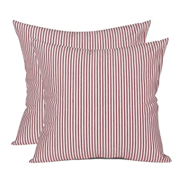 Remarkable Comho Pack Of 2 Cotton Woven Striped Throw Pillow Covers Set Christmas Decorative Cushion Covers Square Farmhouse Pillowcases For Couch Bed Sofa Gmtry Best Dining Table And Chair Ideas Images Gmtryco