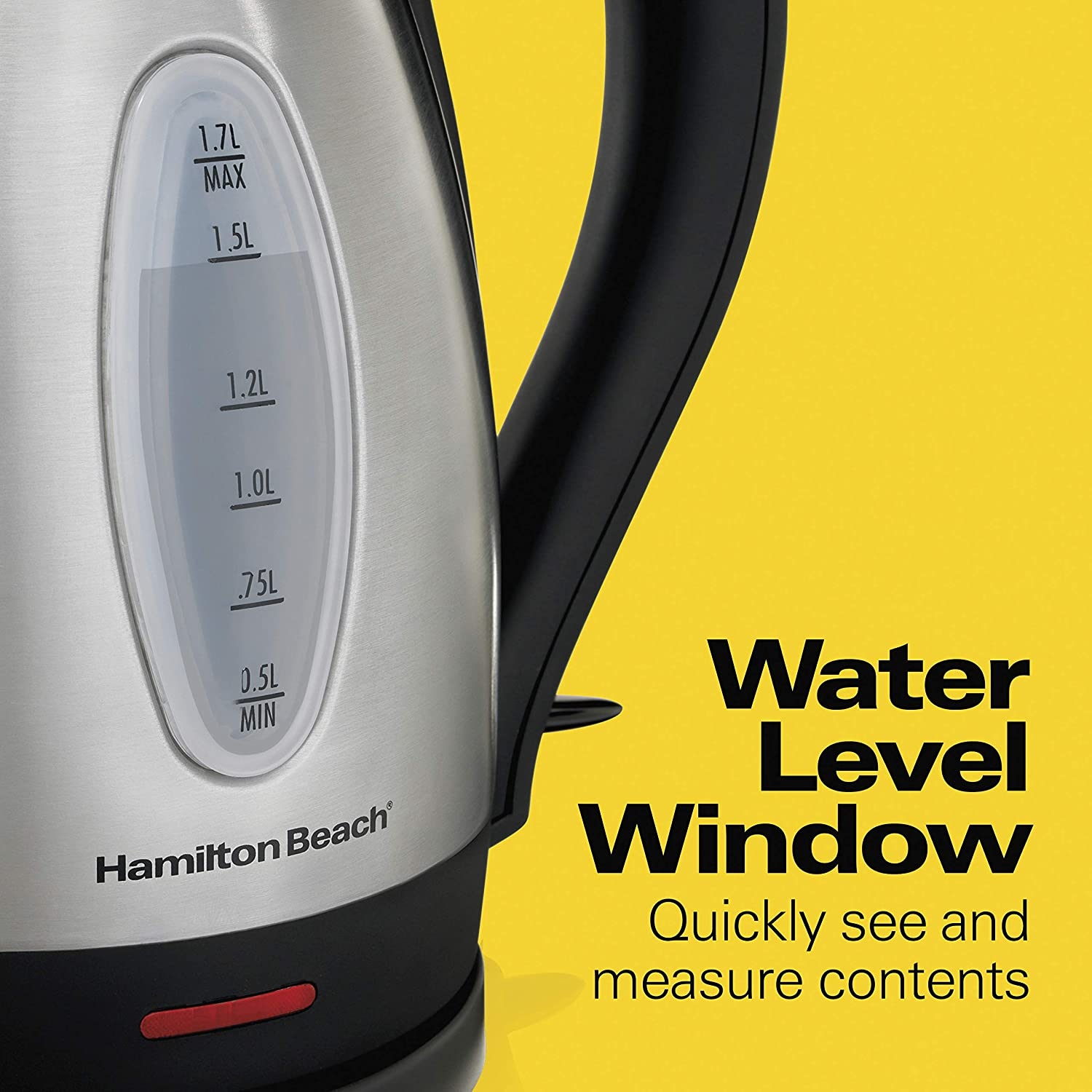 Hamilton Beach Electric Tea Kettle, Water Boiler & Heater, 1.7 L, Cordless, Auto-Shutoff and Boil-Dry Protection, Stainless Steel (40880): Kitchen & Dining