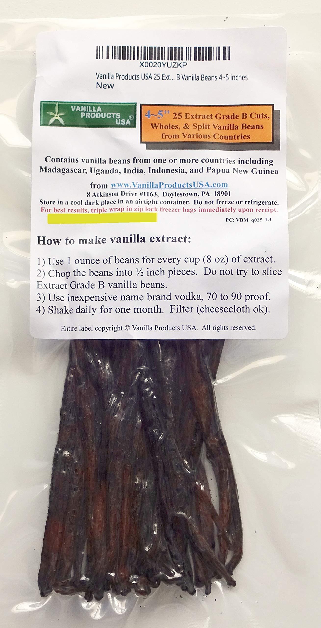 Vanilla Products USA 25 Extract Grade B Vanilla Beans 4~5 inches (12~14 cm) by Vanilla Products USA