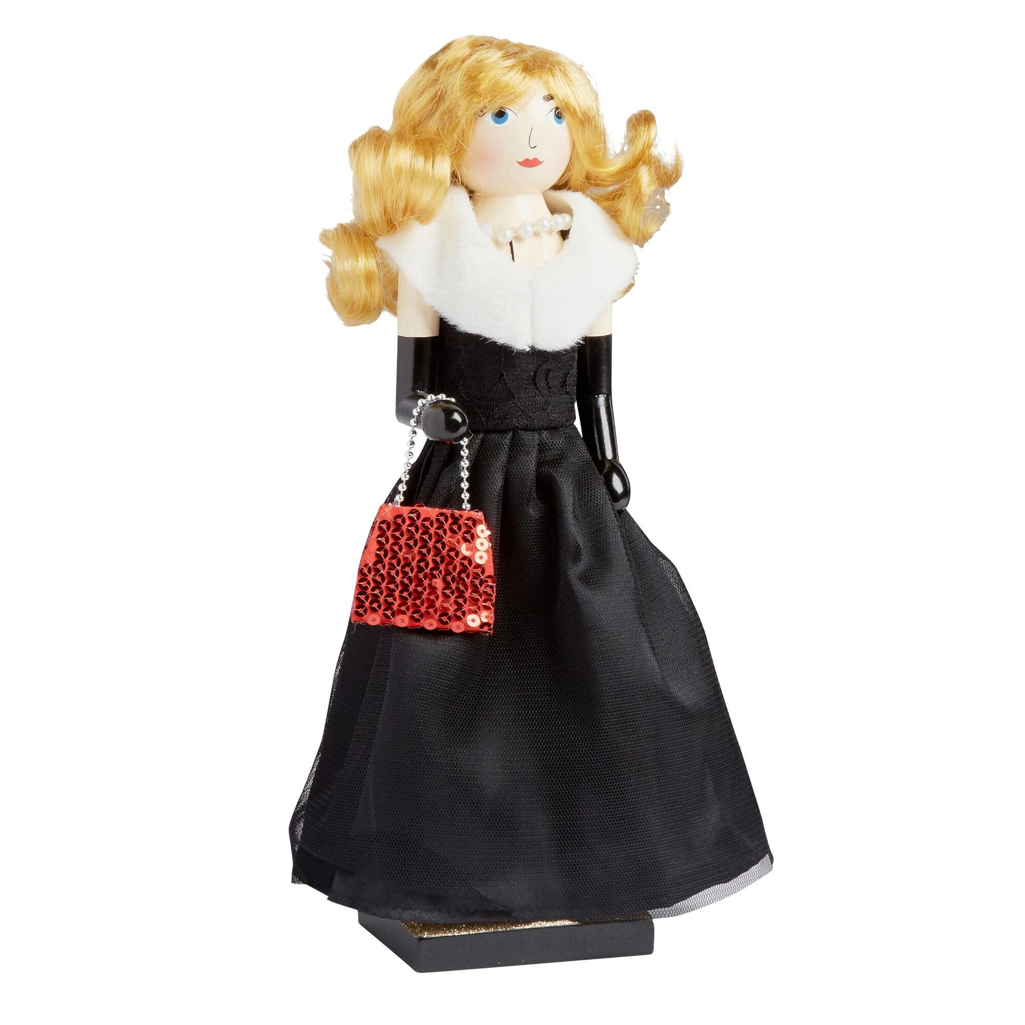 Northeast Home Goods Wooden Christmas Nutcracker Decor, 15-inch Black Gown Glam Girl