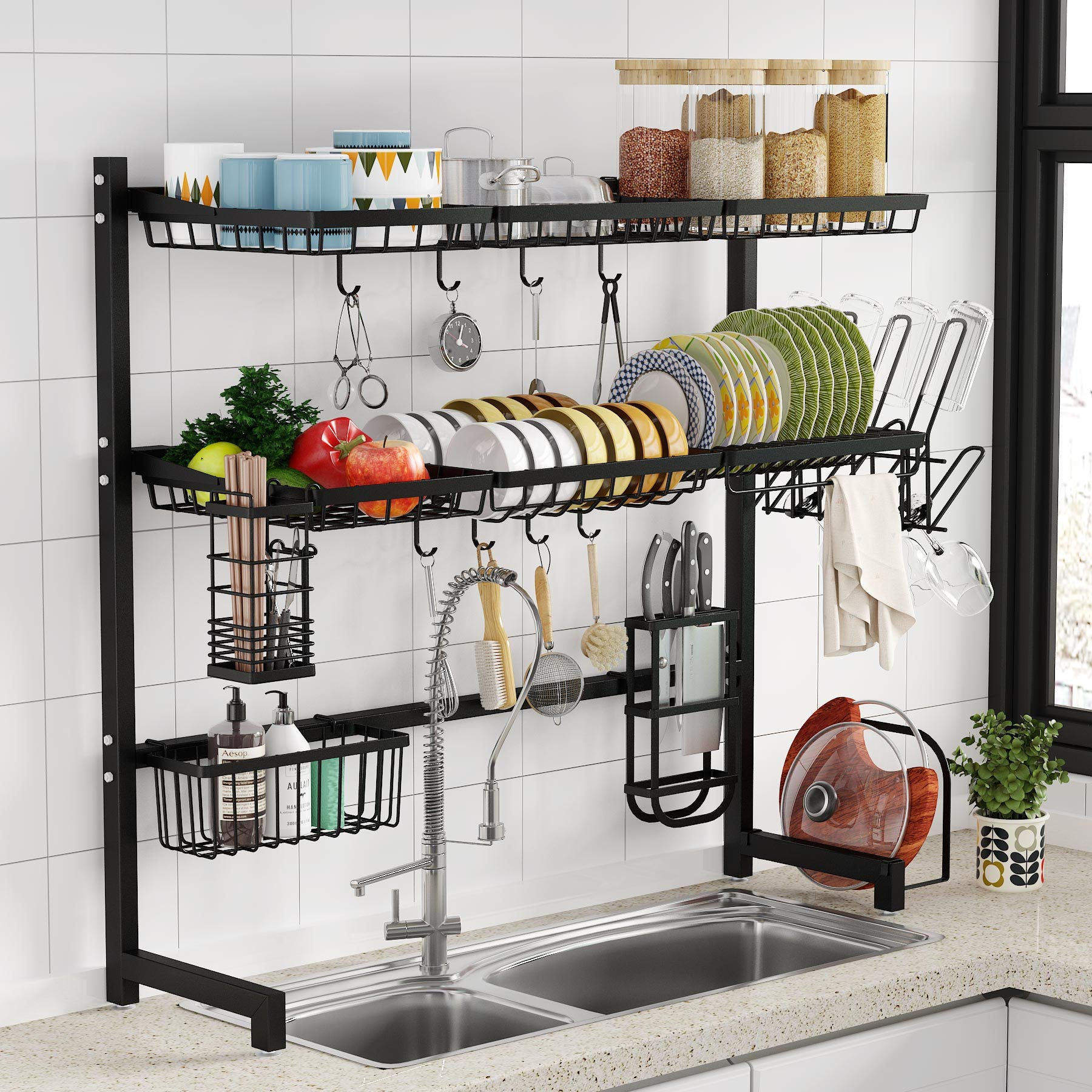 Over The Sink Dish Drying Rack 1easylife 3 Tier Stainless Steel Large Kitchen Rack Dish Drainers For Home Kitchen Counter Storage Shelf With Utensil Holder Above Sink Non Slip Shelves Organizer Buy Online