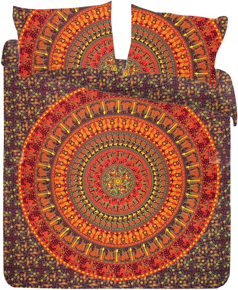 Indian Handmade Mandala Bed sheet Double Bedding Throw Indian Bedspread Pillow Case Bohemian Throw With 2 marching pilllow cover
