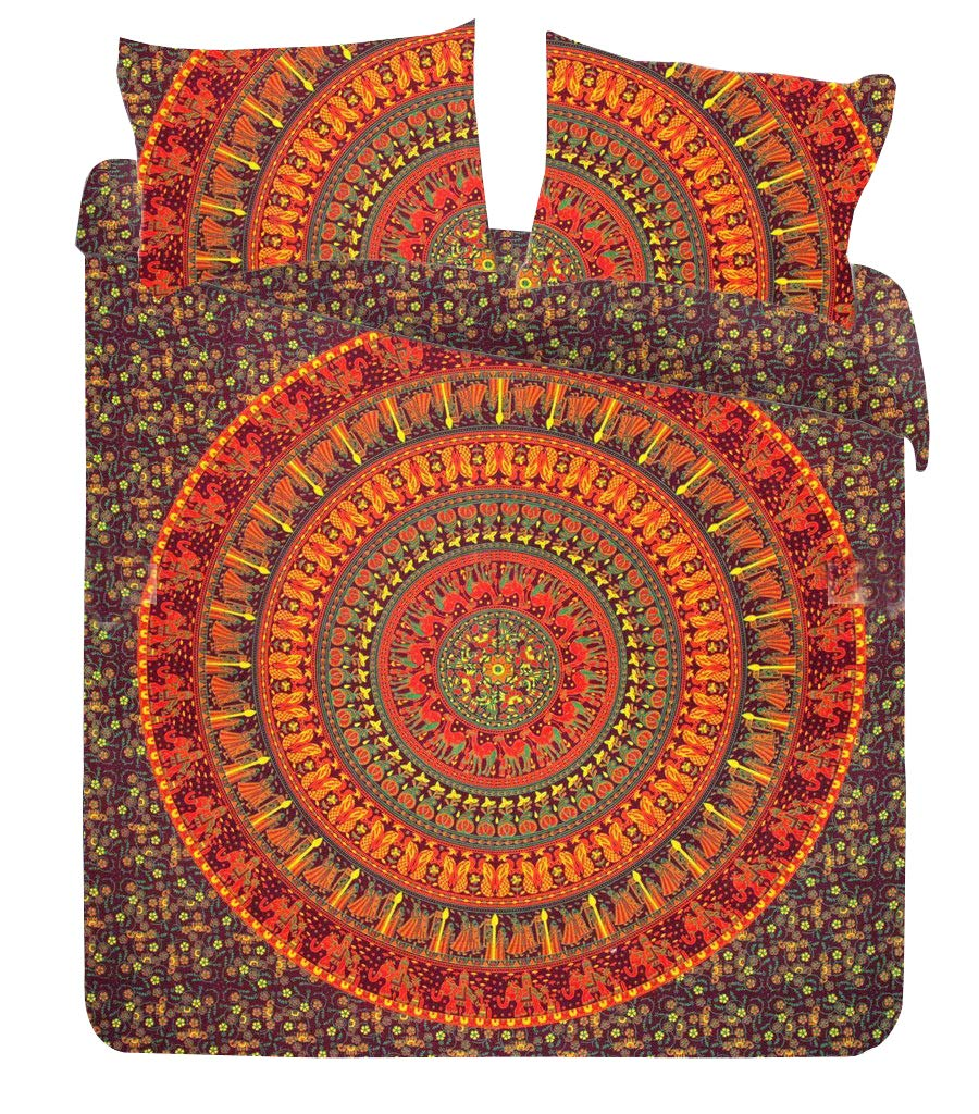 Indian Handmade Mandala Comforter Cover Double Bedding Throw Indian Duvet Cover & Pillow Case Bohemian Throw Bed in a Bag Set With Bed sheet Marusthali MBDB00012-Q