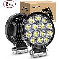 Nilight LED Light Bar,Pods 2Pcs 4.5Inch 42W 4200LM Round Flood Light Off Road Lights Fog Lights Driving Roof LED Light…