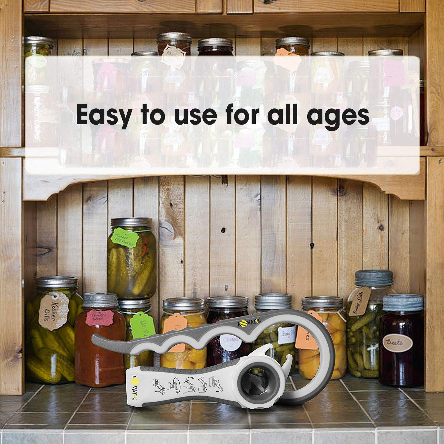 Elders and Arthritis Sufferers RINUZ Can and Jar Opener Easily Apply for Variety of Kitchen Cans and Bottles Quick Opening for Cooking Simple To Use Ergonomic Bottle Opener for Seniors