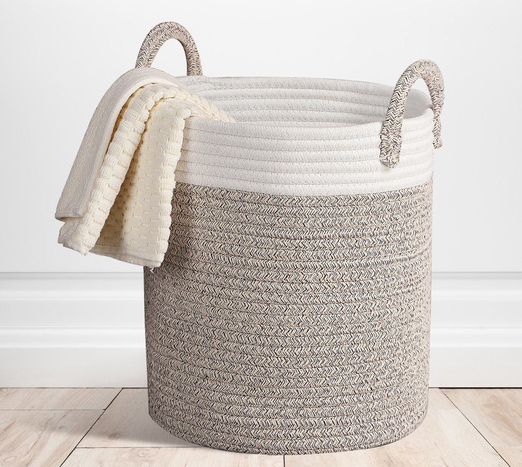 Storage Baskets Terracotta Woven Basket, Cotton Rope