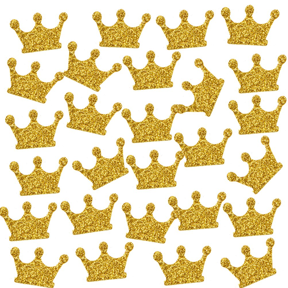 MOWO Gold Crown Confetti Table Decor and Party Wedding Event Decor, Gold Glitter, 200 Count