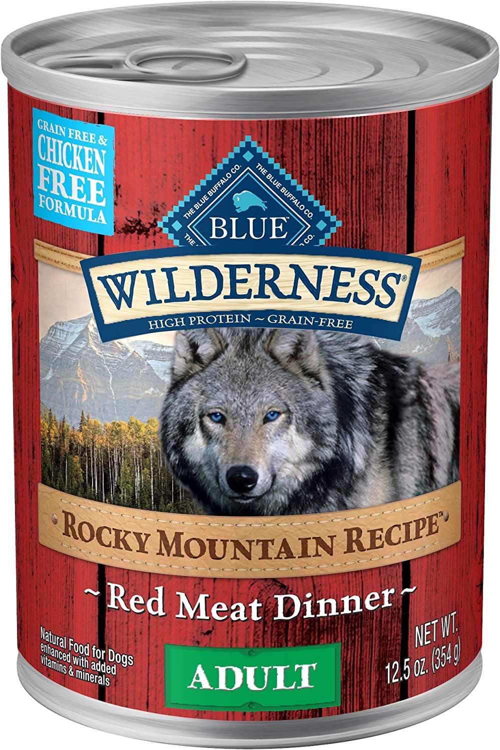 Blue Buffalo Wilderness Rocky Mountain Recipe High Protein Grain Free chicken free, Natural Adult Wet Dog Food, Red Meat 12.5-oz can pack of 12