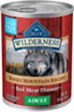 Blue Buffalo Wilderness Rocky Mountain Recipe High Protein Grain Free, Natural Adult Wet Dog Food, Red Meat 12.5-oz cans (Pack of 12)