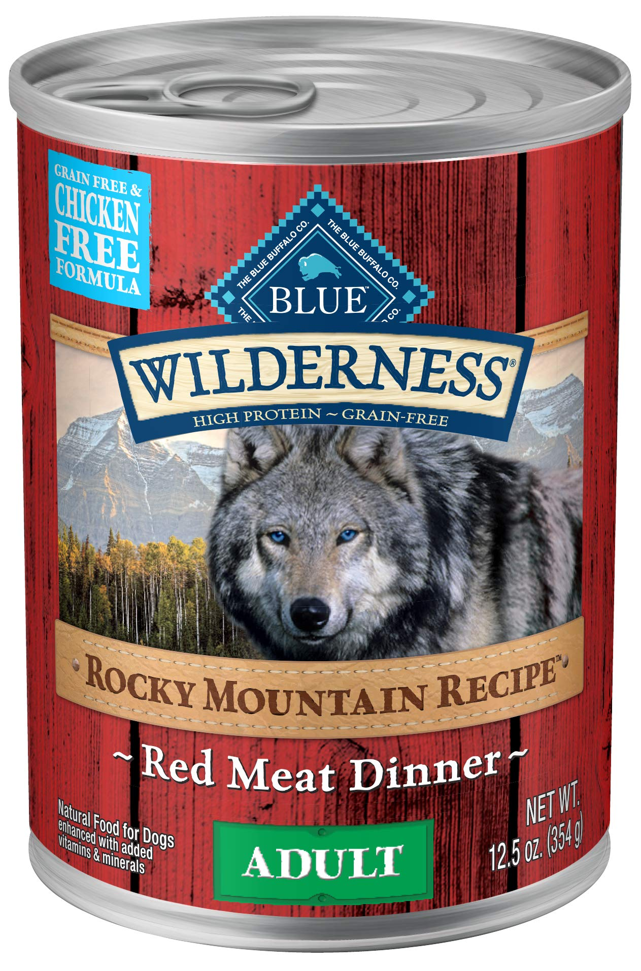 Blue Buffalo Wilderness Rocky Mountain Recipe High Protein Grain Free & chicken free, Natural Adult Wet Dog Food, Red Meat 12.5-oz can (pack of 12) by Blue Buffalo