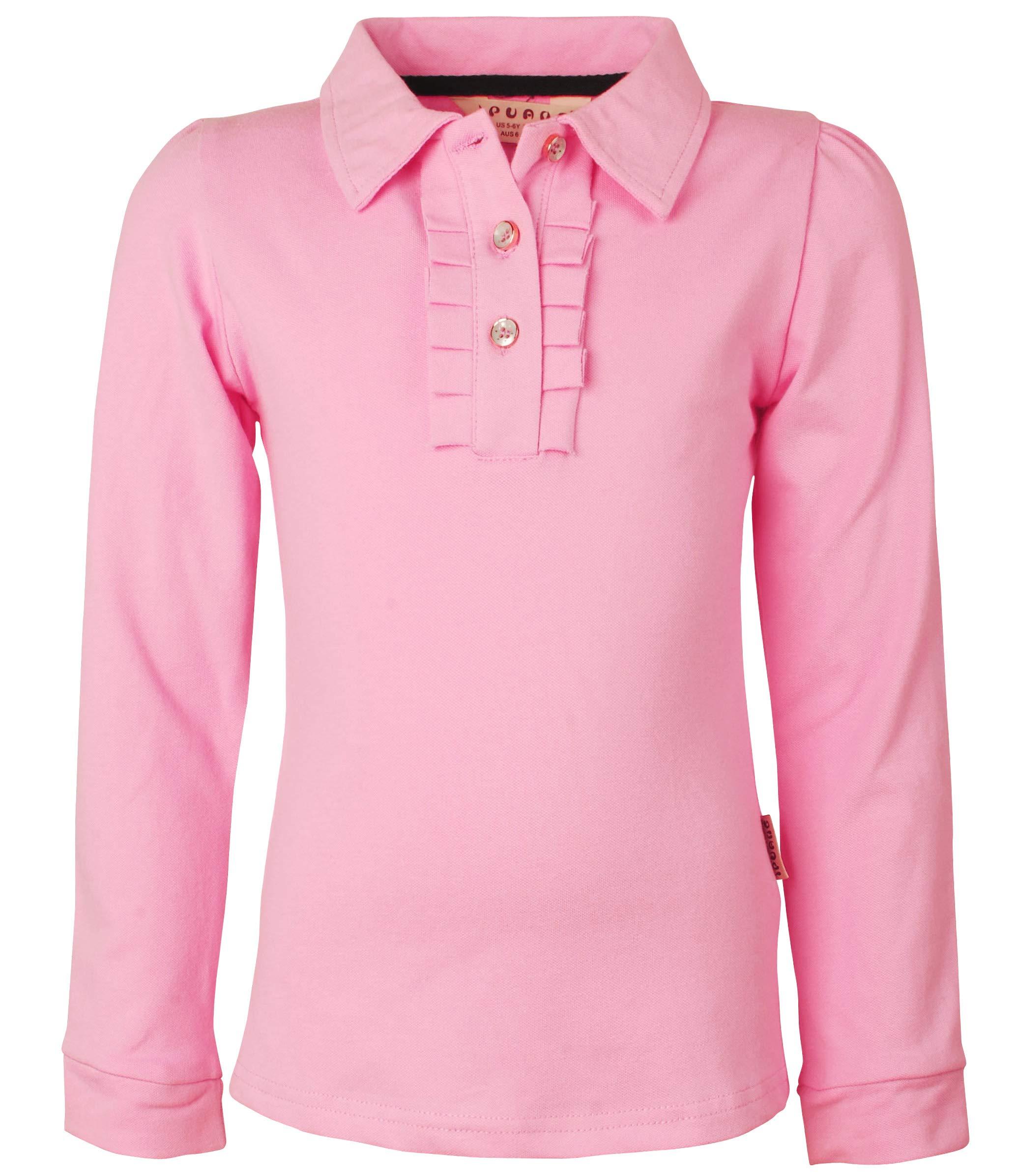 Ipuang Little Girl Long Sleeve Cotton Ruffle Polo Shirt Top 6 Pink