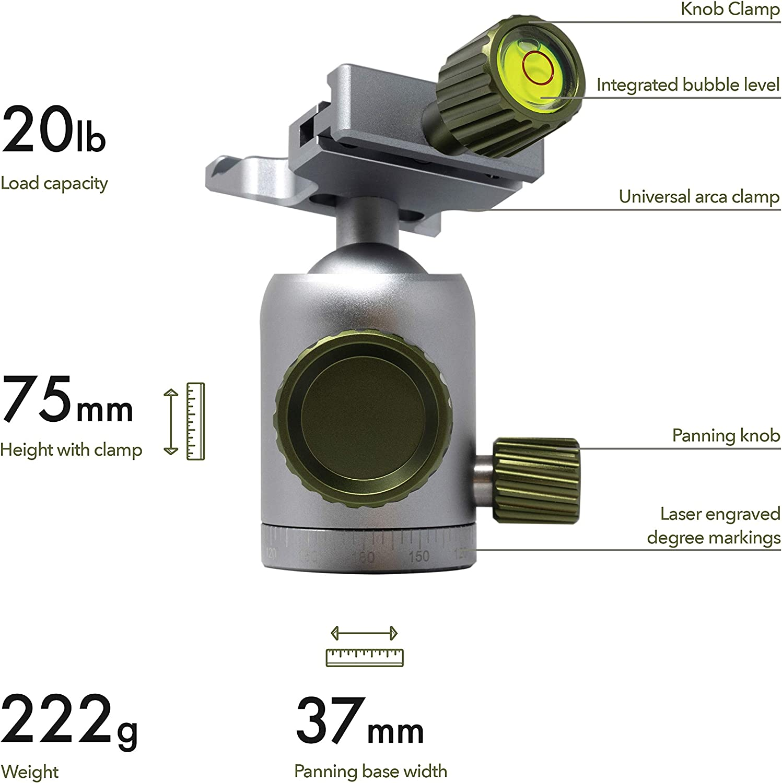 Medium-Gunmetal Highline Tripod Ballhead with 360 Degree Fluid Rotating Swivel and 54lb Load Capacity Includes Arca Clamp with 60mm Arca Swiss Plate Tripod Ball Head for Large Camera Setup