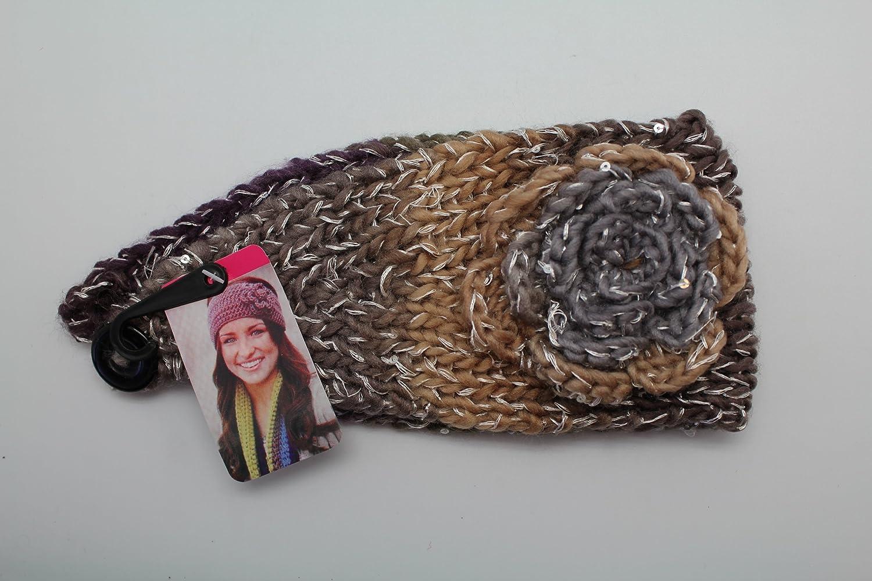 Brown Grey & Purple Knitted Flower Winter Ear Warmer Headband