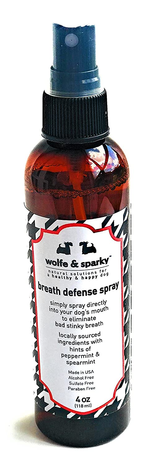 Wolfe & Sparky New!! Fights Plaque & Tartar!! NO More Stinky Dog Breath s Organic Minty Fresh Breath Defense Spray. A Quick Way to Keep Your Dog's Breath, Teeth, Gums Fresh & Clean! 4 Ounces