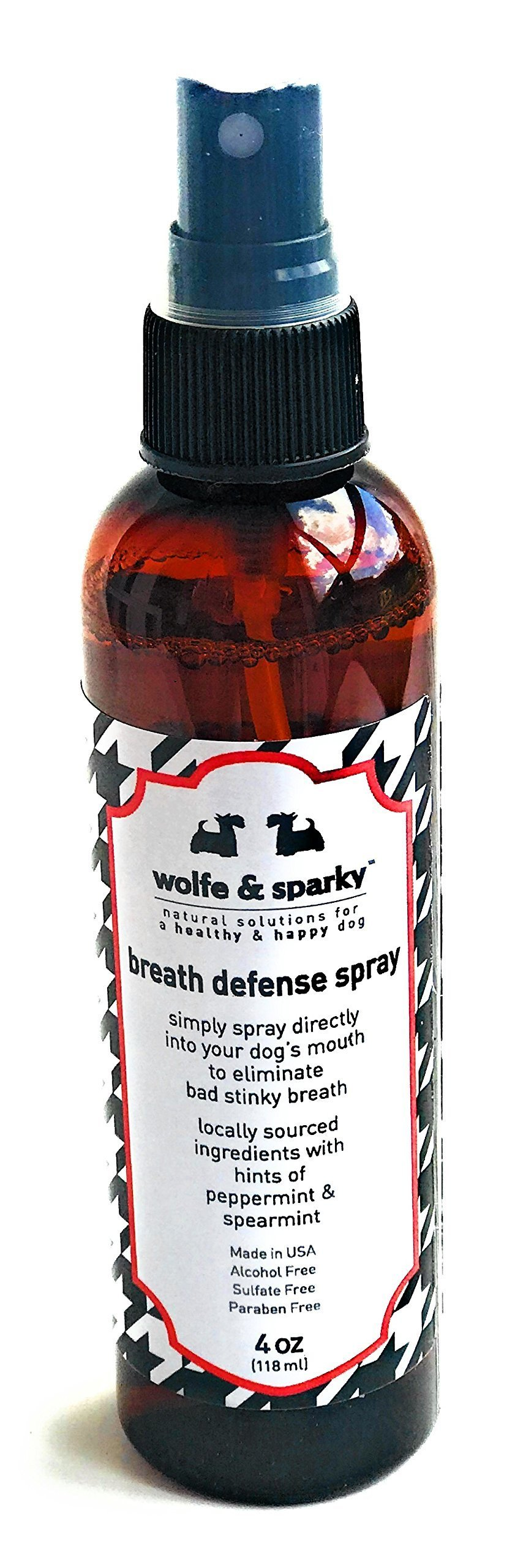 Wolfe & Sparky New!! Fights Plaque & Tartar!! NO More Stinky Dog Breath s Organic Minty Fresh Breath Defense Spray. A Quick Way to Keep Your Dog's Breath, Teeth, Gums Fresh & Clean! 4 Ounces by Wolfe & Sparky