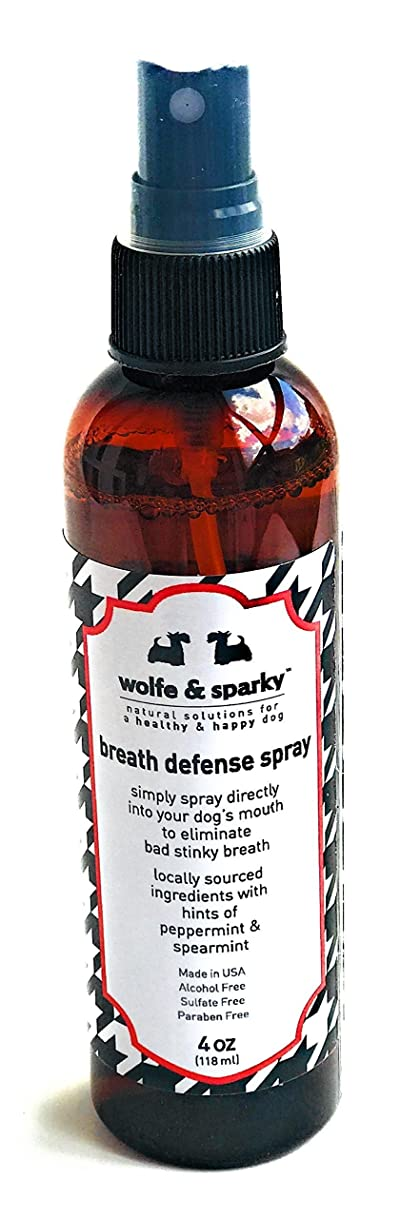 Wolfe & Sparky New!! Fights Plaque & Tartar!! NO More Stinky Dog Breath s Organic Minty Fresh Breath Defense Spray. A Quick Way to Keep Your Dog's Breath