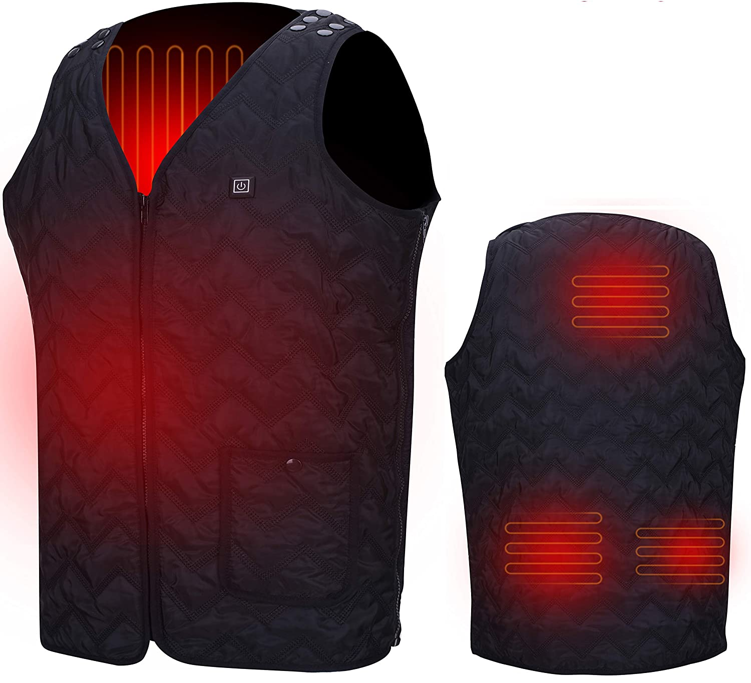 Heated Vest USB Electric Heated Vest Size Adjustable USB Charging Heating Vest Clothing for Men and Women (Battery not Included) Black