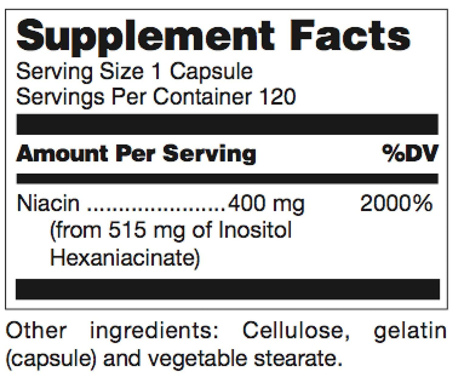 Douglas Laboratories – Niacinate 400-400 mg. No-Flush High Potency Niacin to Support Cardiovascular Health* – 120 Capsules