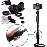 Shopizone® Yunteng YT 1288 Bluetooth Selfie Stick With 3 in 1 Mobile Camera Lens Combo For Apple and Android Smartphones